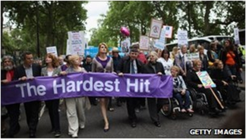 10,000 Disabled People March on London protesting cuts to disability benefits and services - May 2011