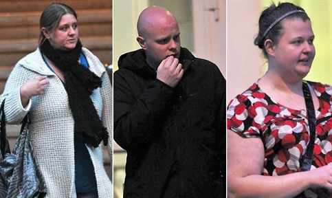 From Left: Maggie Bowden, Anthony Connolly and Rebecca Willis. All three walked free from court after torturing Sean Rudderforth for hours