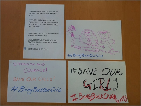 #Bringbackourgirls banners made by CHANGE volunteers